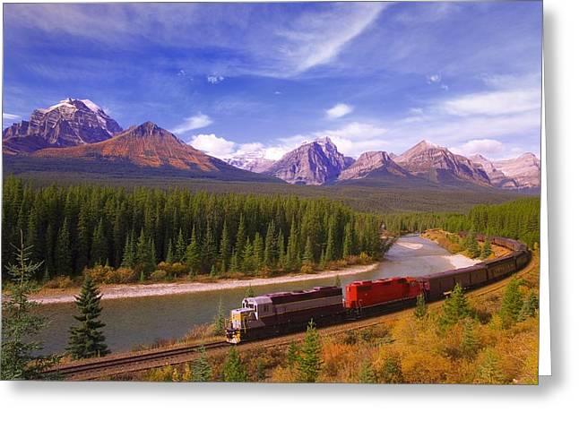 Train In Banff National Park Greeting Card by Carson Ganci