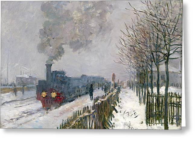 Snowy Tree Greeting Cards - Train in the Snow or The Locomotive Greeting Card by Claude Monet
