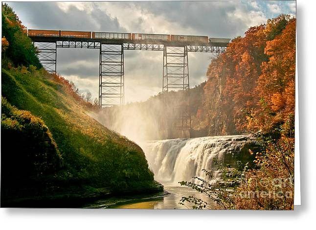 Trellis Greeting Cards - Train over Letchworth Greeting Card by Ken Marsh