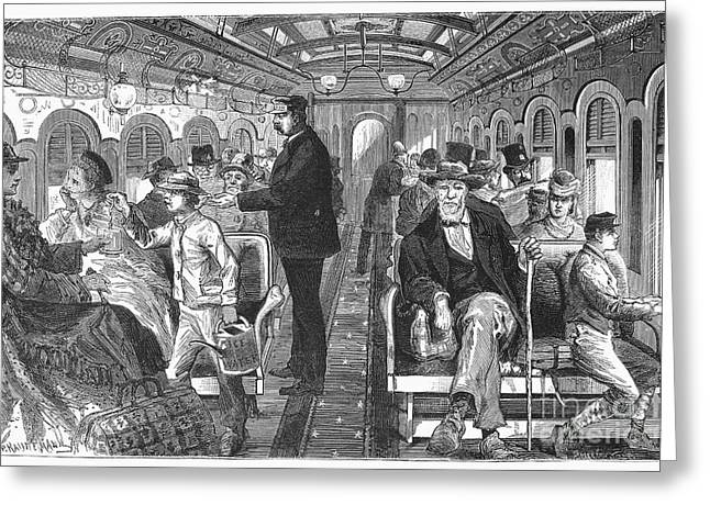 1876 Greeting Cards - Train: Passenger Car, 1876 Greeting Card by Granger