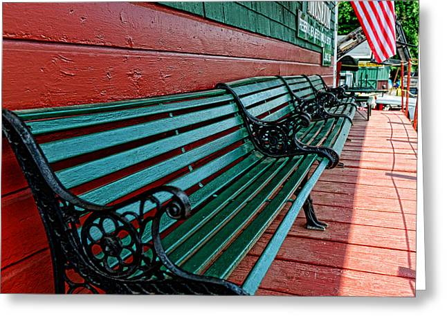 Painted Wood Greeting Cards - Train Station waiting area Greeting Card by Paul Ward