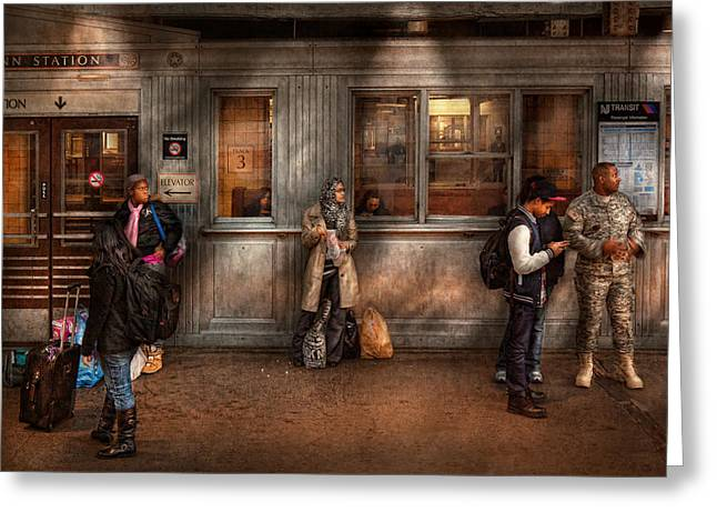 Train - Station - Waiting for the next train Greeting Card by Mike Savad