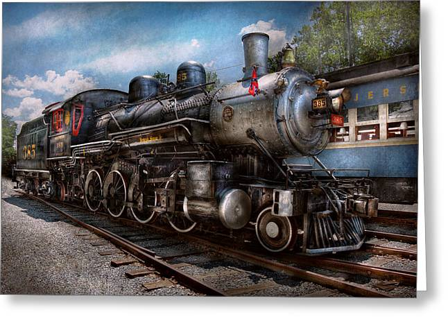 Rr Greeting Cards - Train - Steam - 385 Fully restored  Greeting Card by Mike Savad