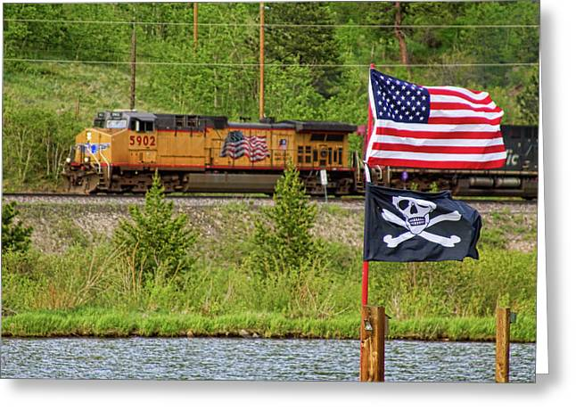Railroads Framed Prints Greeting Cards - Train the Flags Greeting Card by James BO  Insogna