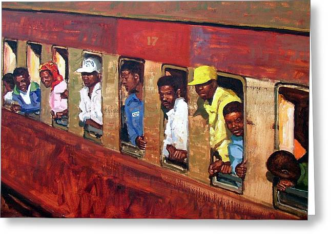 Goodbye Paintings Greeting Cards - Train to Mozambique Greeting Card by Roelof Rossouw