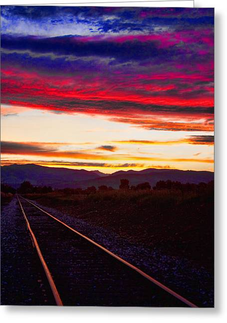 Railroads Framed Prints Greeting Cards - Train Track Sunset Greeting Card by James BO  Insogna