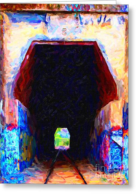 Back Roads Digital Art Greeting Cards - Train Tunnel With Graffiti Greeting Card by Wingsdomain Art and Photography