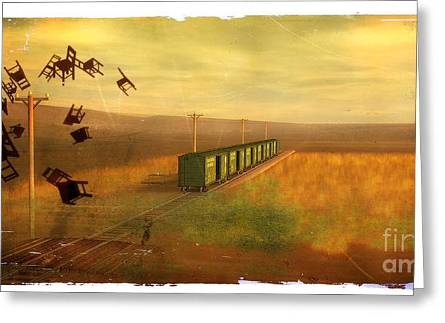 Rosy Hall Greeting Cards - Train Unexplained Greeting Card by Rosy Hall