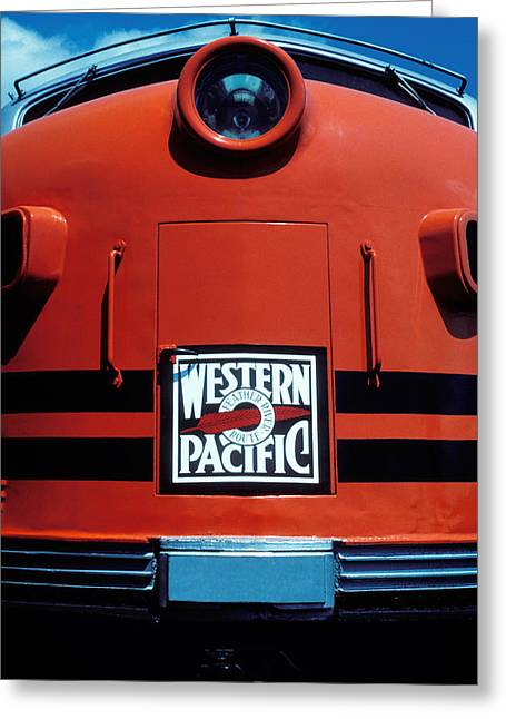 Headlight Greeting Cards - Train Western Pacific Greeting Card by Garry Gay