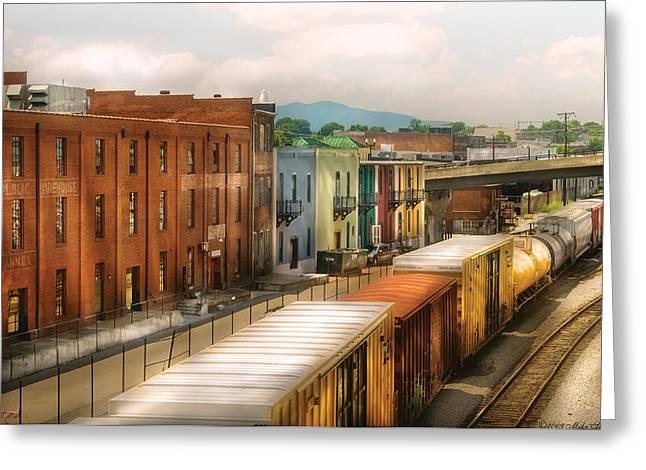 Msavad Greeting Cards - Train - Yard - Train Town Greeting Card by Mike Savad