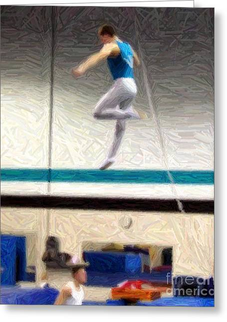 Gymnasium Mixed Media Greeting Cards - Trampoline Flight Greeting Card by RL Rucker