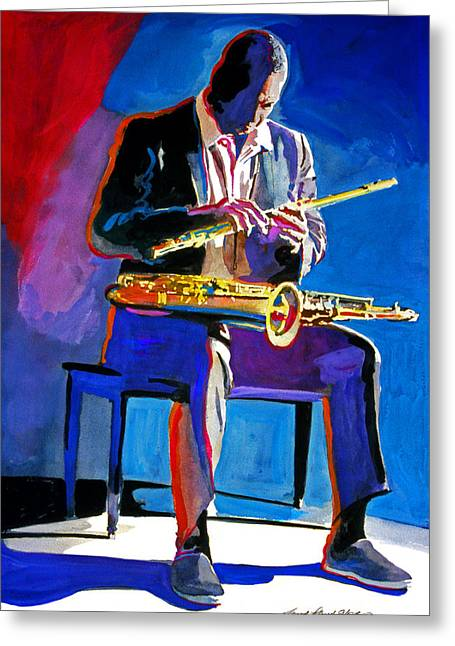 Featured Paintings Greeting Cards - Trane - John Coltrane Greeting Card by David Lloyd Glover