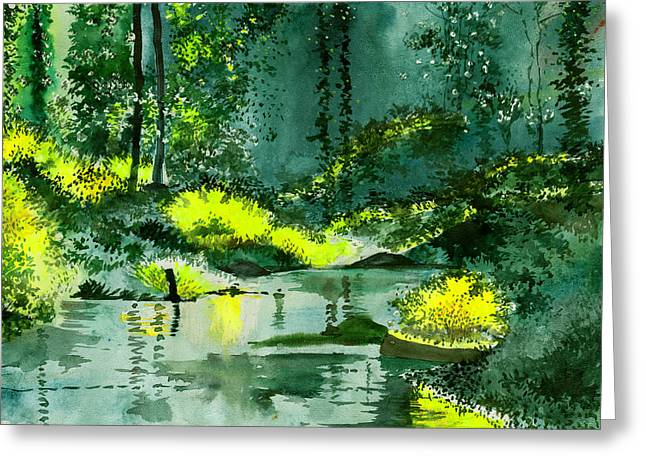 Amazing Drawings Greeting Cards - Tranquil 1 Greeting Card by Anil Nene