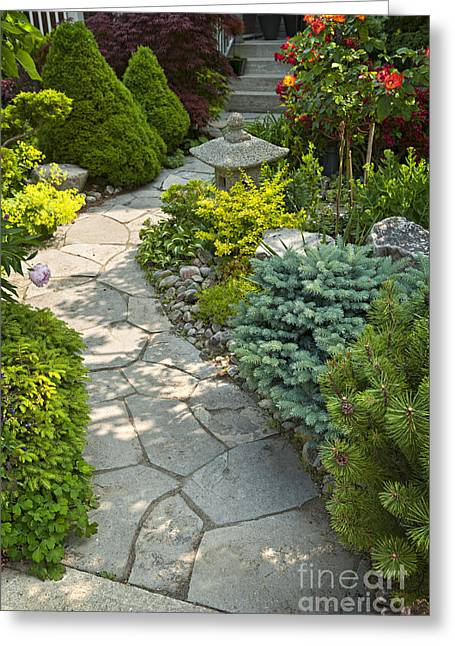 Stepping Stones Greeting Cards - Tranquil garden  Greeting Card by Elena Elisseeva