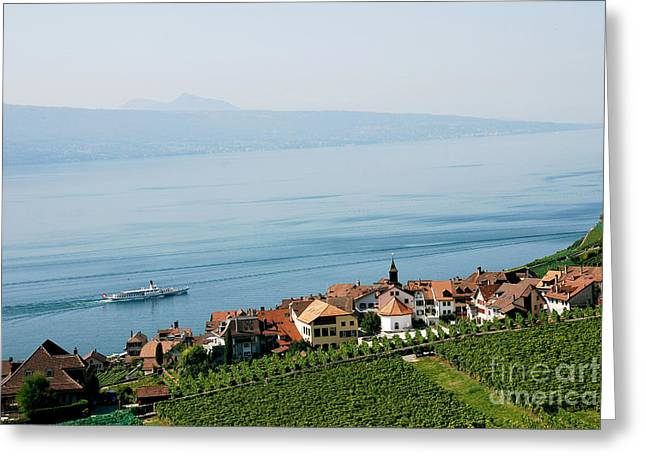 Wine Lovers Greeting Cards - Tranquil Lake Geneva Greeting Card by Ivy Ho