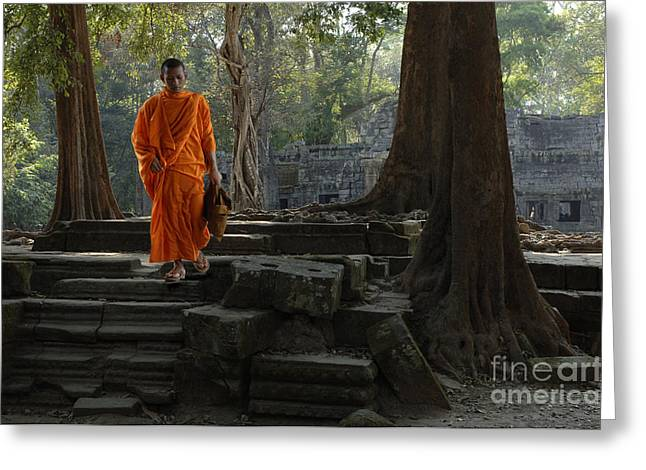 Buddhist Monks Greeting Cards - Buddhist Monk Cambodia Greeting Card by Bob Christopher