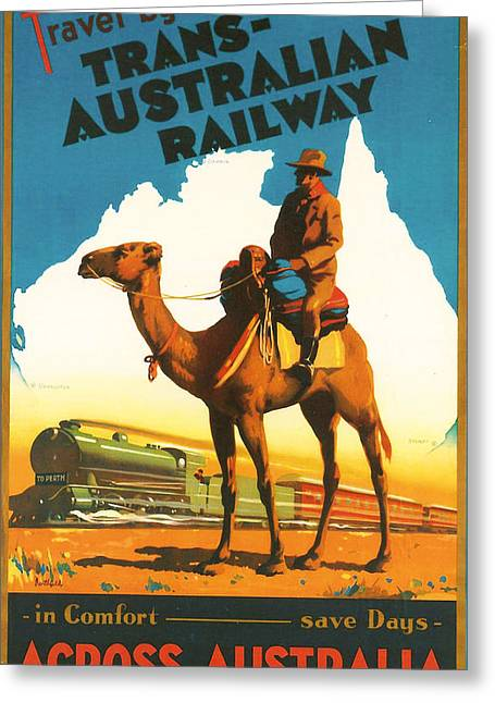 Trans-australia Railway Greeting Card by Georgia Fowler
