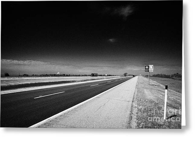 trans canada highway 1 and yellowhead route in manitoba canada Greeting Card by Joe Fox