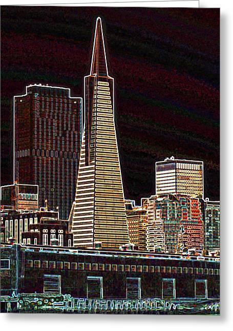 Pierscape Greeting Cards - Transamerica Building Greeting Card by Jake Johnson