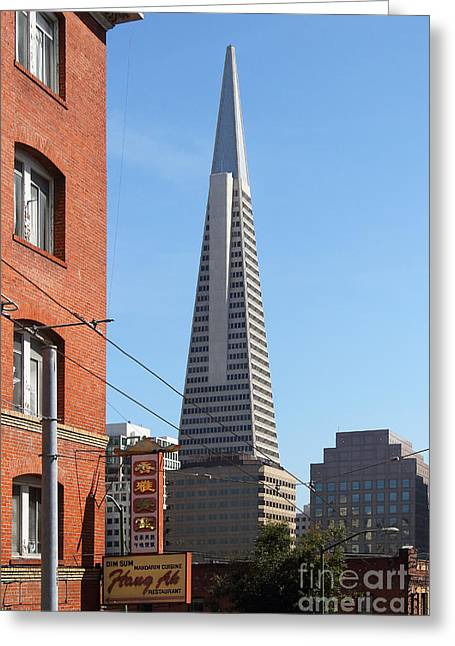 Chinese Shop Greeting Cards - Transamerica Pyramid Tower in San Francisco . 7D7376 Greeting Card by Wingsdomain Art and Photography