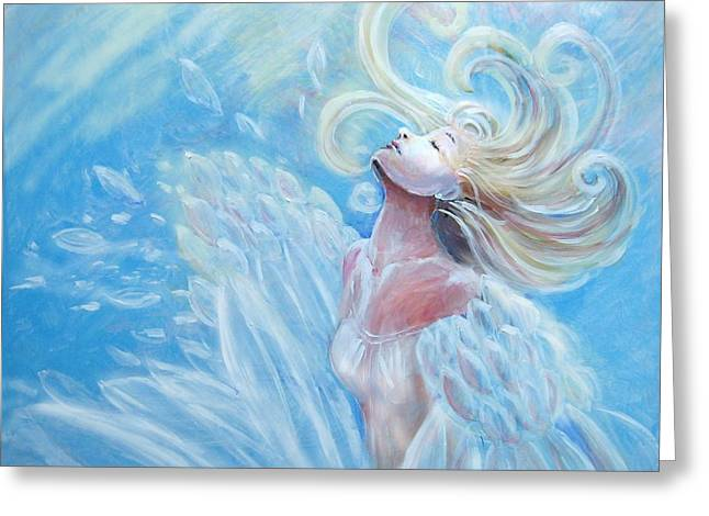 Angel Greeting Cards - Transformation Greeting Card by Rosemary Babikan