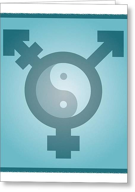 Identification Symbol Greeting Cards - Transgender Balance, Conceptual Artwork Greeting Card by Stephen Wood