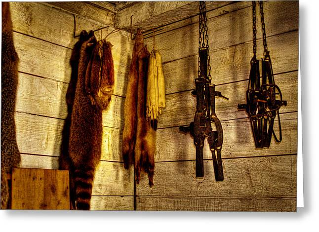 Stockade Greeting Cards - Trapper Supplies at the Store Greeting Card by David Patterson