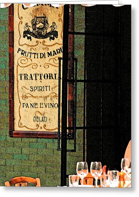 Vinos Mixed Media Greeting Cards - Trattoria Greeting Card by Anahi DeCanio