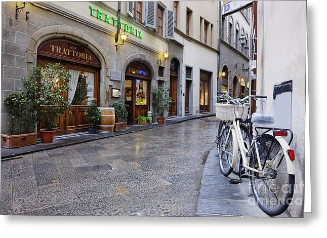 Bicycling Tuscany Greeting Cards - Trattoria and Bicycle Greeting Card by Jeremy Woodhouse