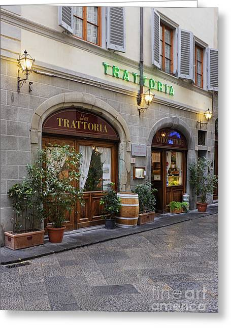 Trattoria Greeting Cards - Trattoria on Pedestrian Street Greeting Card by Jeremy Woodhouse