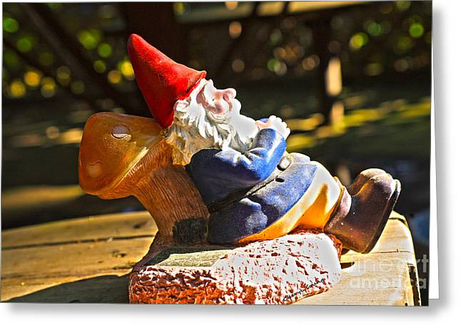 Garden Statuary Greeting Cards - Travel Gnome Sunning Greeting Card by Cheryl Young