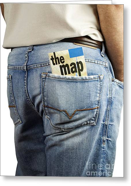 Casual Blue Jeans Greeting Cards - Travel map in back pocket Greeting Card by Blink Images