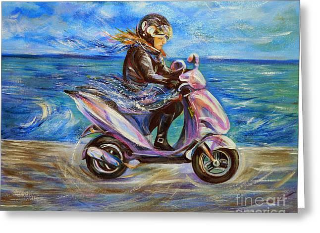 Anna Duyunova Art Greeting Cards - Travel Notebook. Nice. Sunday Ride Greeting Card by Anna  Duyunova