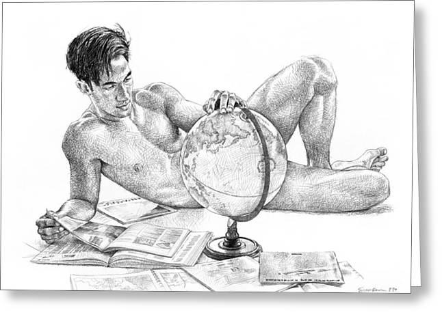 Globes Drawings Greeting Cards - Traveler Greeting Card by Douglas Simonson