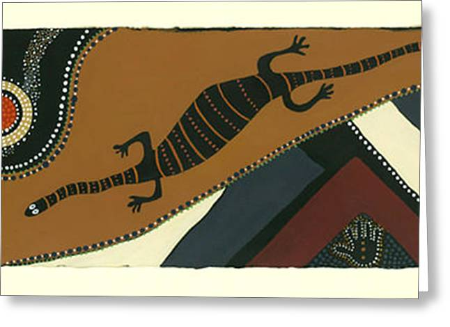 Aboriginal Mixed Media Greeting Cards - Traveling Goanna Greeting Card by Pat Saunders-White