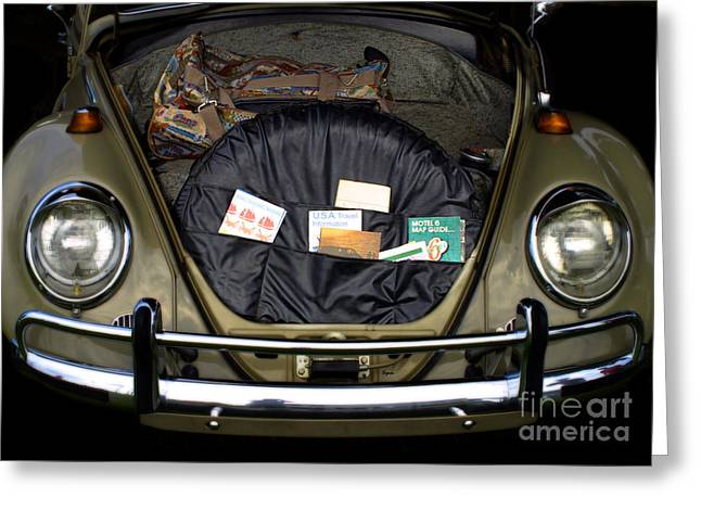 Vw Beetle Greeting Cards - Traveling in the Sixties  Greeting Card by Steven  Digman