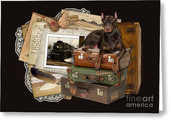 Doby Greeting Cards - Traveling Red Doberman Greeting Card by Renae Laughner