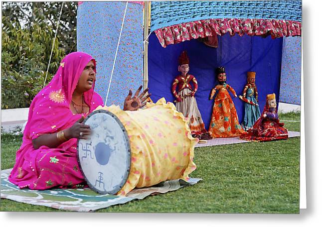 Woman Drumming Greeting Cards - Traveling Troupe Puppeteers Greeting Card by Kantilal Patel