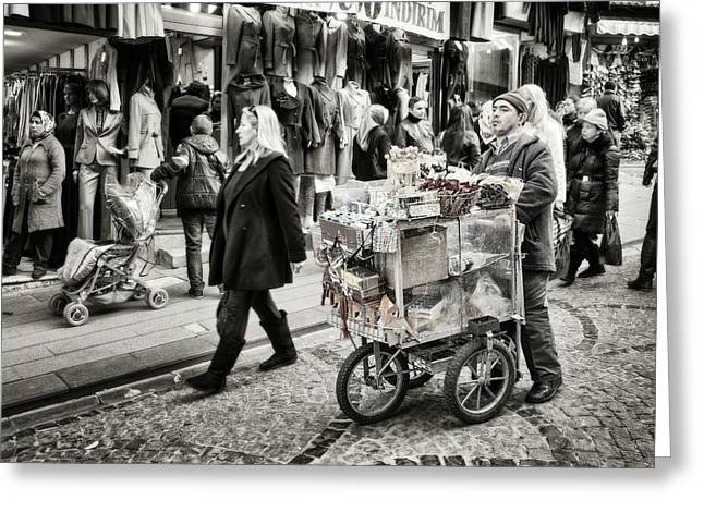 Street Fairs Greeting Cards - Traveling Vendor Greeting Card by Joan Carroll