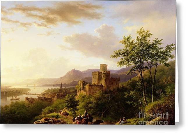 Boats In Water Greeting Cards - Travellers on a Path in an extensive Rhineland Landscape Greeting Card by Barend Cornelis Koekkoek