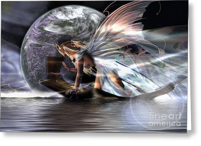 Angel Mermaids Ocean Greeting Cards - Travels Greeting Card by Georgina Hannay