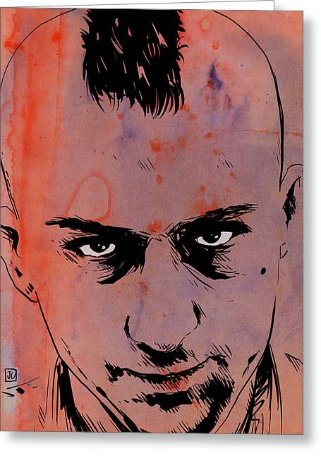 Robert De Niro Greeting Cards - Travis Bickle Taxi Driver Greeting Card by Giuseppe Cristiano