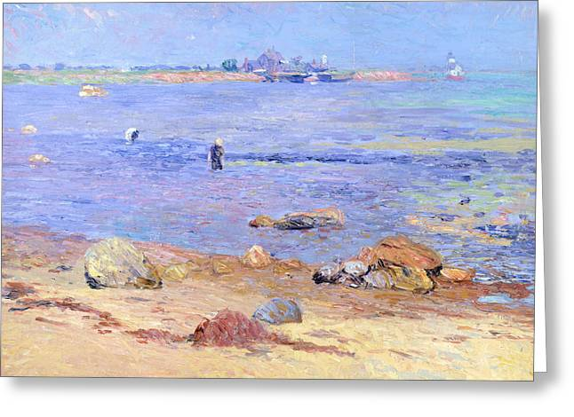 Eight Greeting Cards - Treading Clams at Wickford Greeting Card by William James Glackens