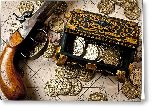 Treasure box with old pistol Greeting Card by Garry Gay