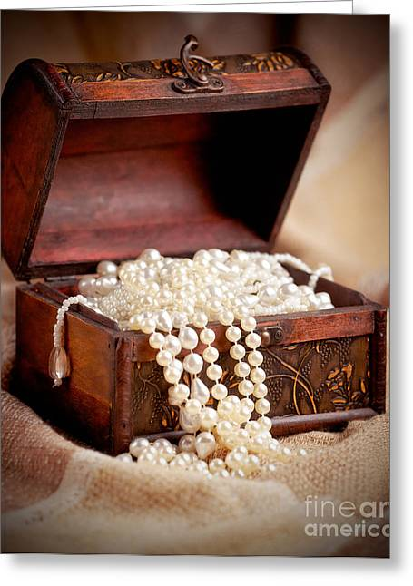 Ancient Jewelry Photographs Greeting Cards - Treasure chest Greeting Card by Gabriela Insuratelu