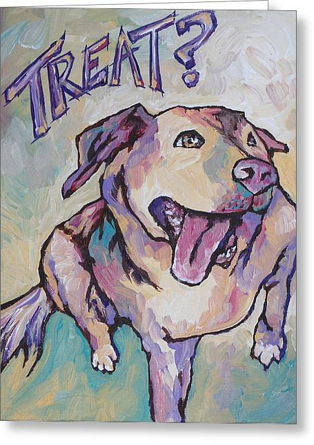 Wag Greeting Cards - Treat Greeting Card by Sandy Tracey
