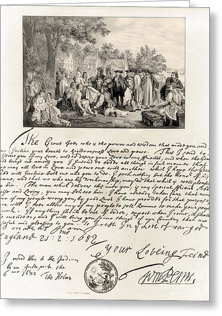 Quaker Greeting Cards - Treaty Between William Penn Greeting Card by Photo Researchers