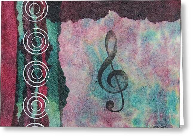 Whimsical Greeting Cards - Treble Clef Tie Dye Mixed Media Art Collage Greeting Card by Karen Pappert