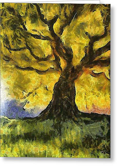 Gnarly Digital Greeting Cards - Tree  a la Van Gogh Greeting Card by Gun Legler