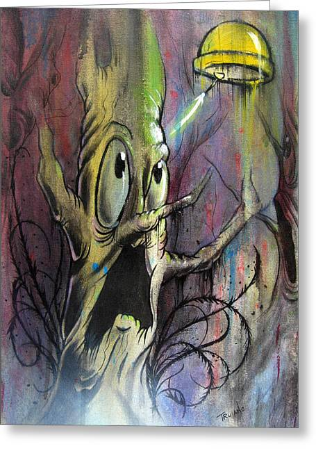 Cartoon Alien Greeting Cards - Tree Abduction Greeting Card by Matt Truiano